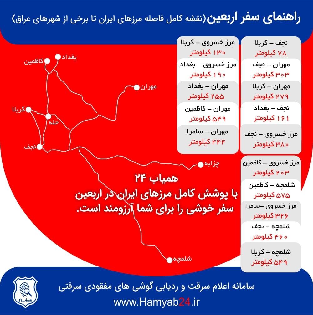 فاصله مرزهای ایران تا شهرهای عراق