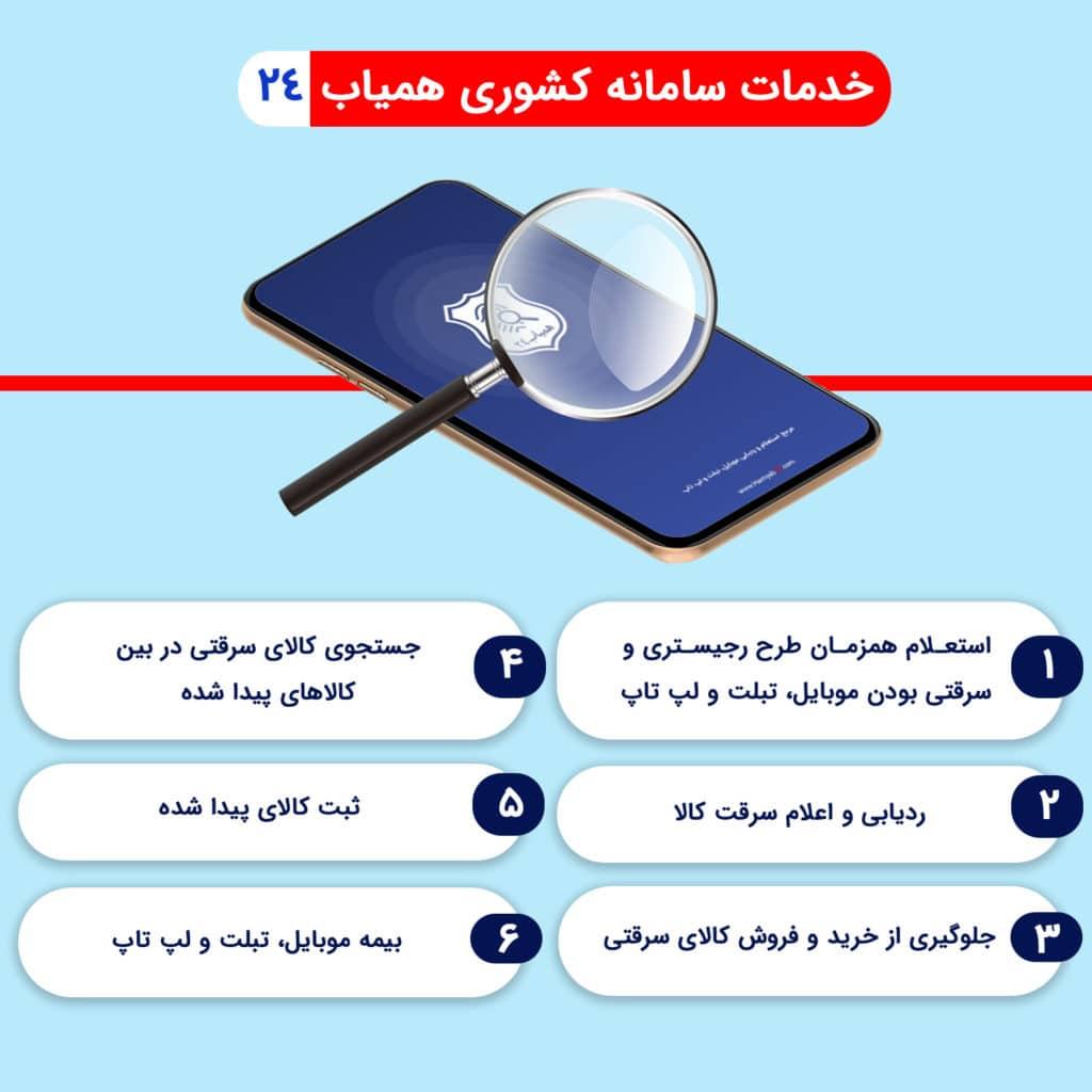 خدمات سامانه کشوری همیاب 24 برای ردیابی گوشی های سرقتی و مفقودی