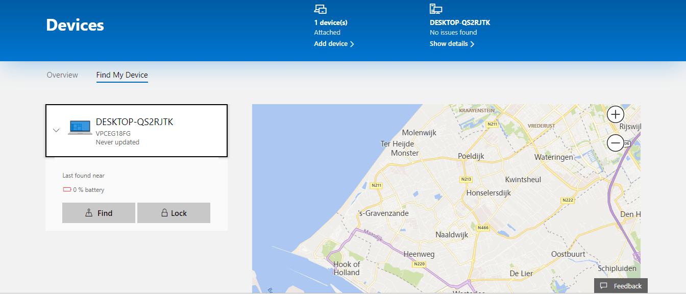 ردیابی لپ تاپ با Find My Device
