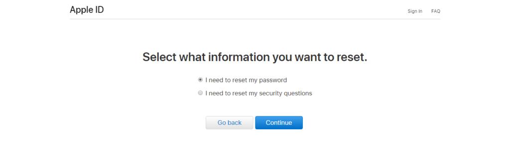 بازیابی رمز عبور apple id