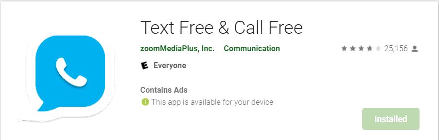 برنامه Text free and Call Free برای ساخت شماره مجازی رایگان