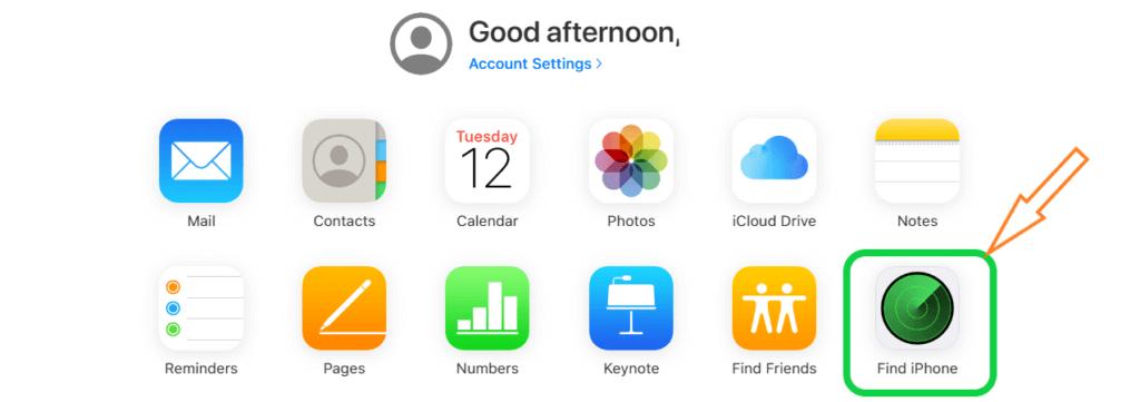 وارد شدن در icloude و اجرای برنامه find iphone در گوشی آیفون