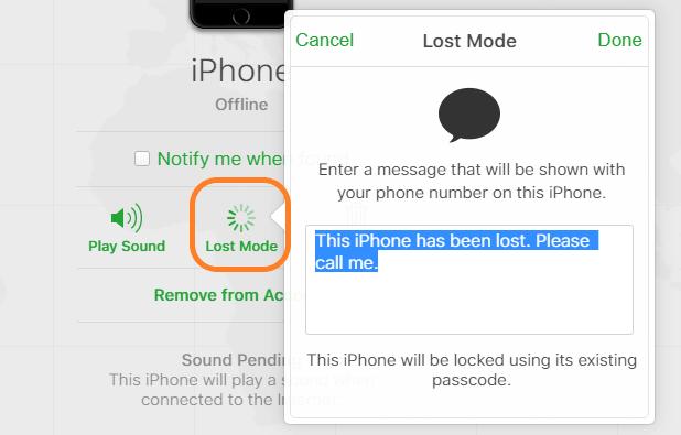 پیدا کردن گوشی با حالت گمشده در قابلیت find my iphone
