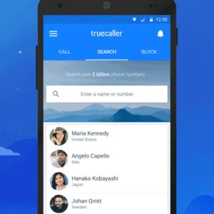 منوی جستجوی مخاطبان که تماس گرفته اند در اپلیکیشن تروکالر