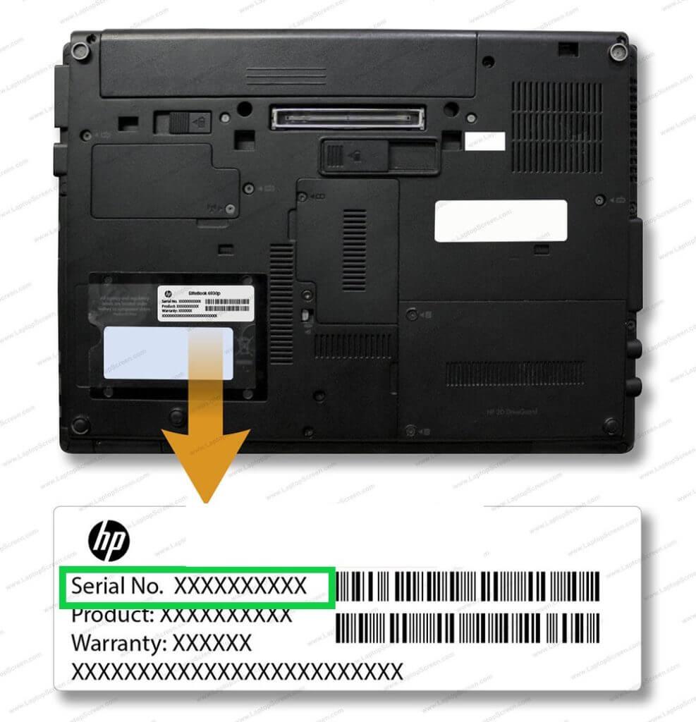 شماره سریال همراه با اطلاعات جزئی از لپ تاپ که در زیر لپ تاپ قرار گرفته است
