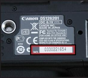 شماره سریال همراه با اطلاعات جزئی بصورت برچسب روی دوربین دیجیتال قرار گرفته است