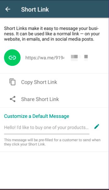 لینک کوتاه در واتساپ بیزینسی برای راحتی مشتریان