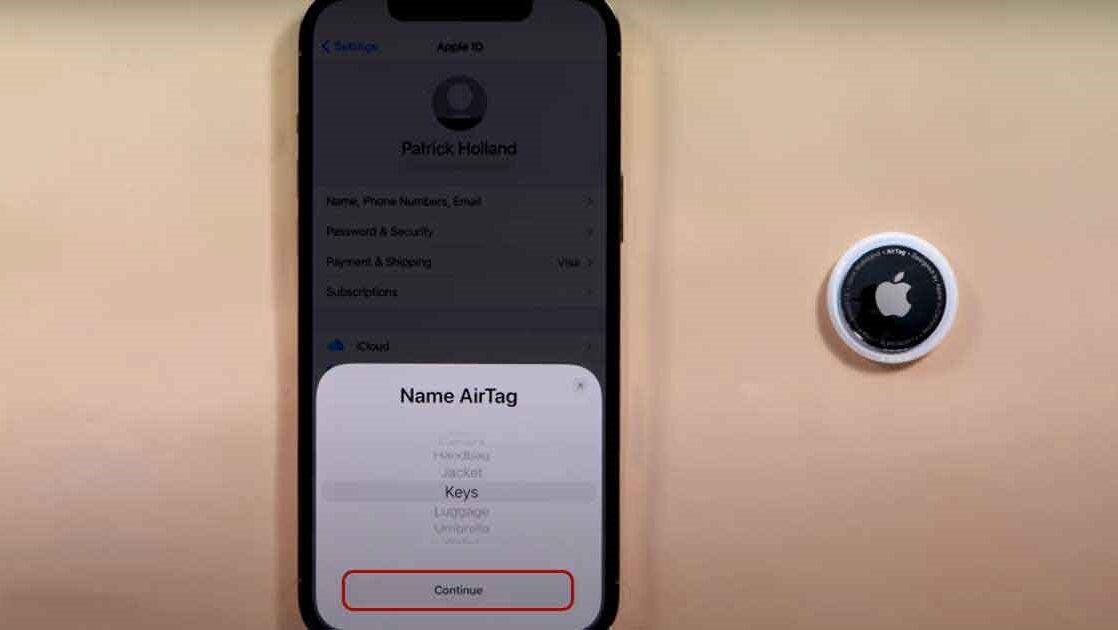 تنظیمات ایرتگ اپل برای فعالسازی قدم اول