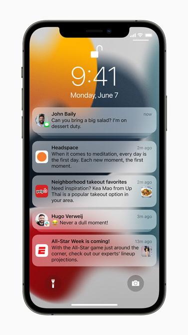 صفحه اعلانات ios15 در گوشی iPhone 12Pro